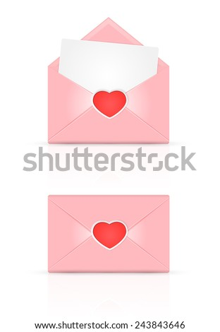 Set of pink envelopes with red Valentines heart, illustration. - stock vector