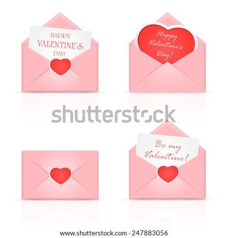 Set of pink envelopes with Valentines heart and congratulations, illustration. - stock vector
