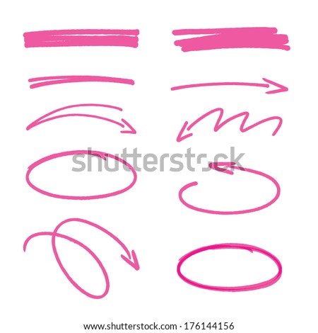 set of pink hand drawn arrows signs and highlighting elements - stock vector