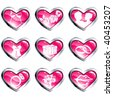 Set of pink heart-shaped valentine's day icons (vector); a JPG version is also available - stock vector