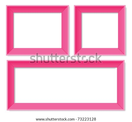 Set of pink photo frames - stock vector
