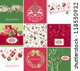 Set of pink, red and green Christmas Cards templates - stock vector