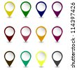 Set of pins in dark retro colors Vector - stock photo