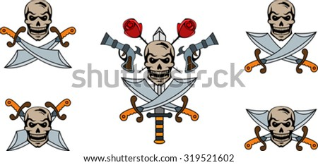 Set of pirate emblems with skulls and swords - stock vector