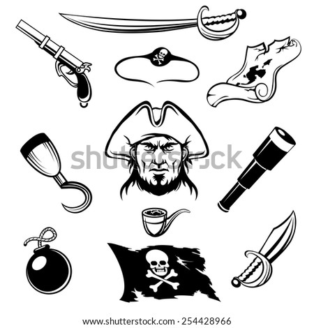 Set of pirate icons. Isolated on white background. - stock vector