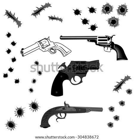 Set of pistols and bullet holes in vector. Handguns set on white background - stock vector