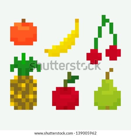 Set of pixel art icons for fruits, orange, banana, cherry, pineapple, apple, pear, vector illustration - stock vector