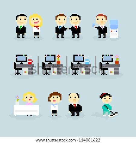 Set of pixel art icons, office life theme, vector - stock vector