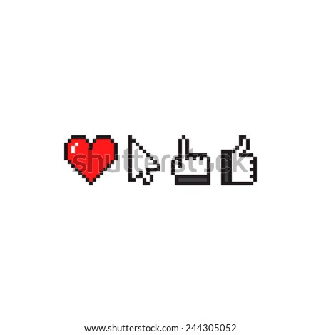 Set of pixel art icons with heart, arrow cursor, hand with pointing finger and thumbs up gesture - stock vector