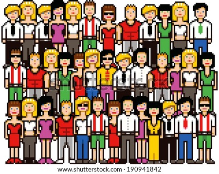 Set of pixel art people crowd vector illustration isolated on white - stock vector