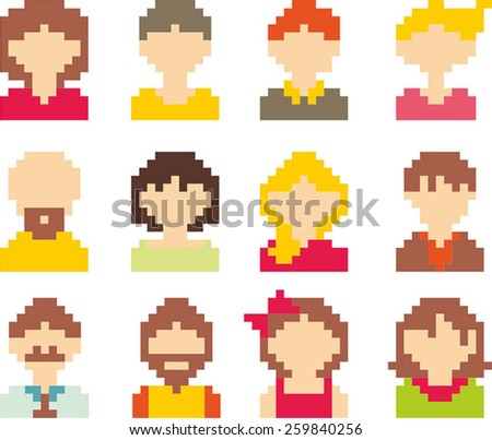 Set of pixel art people icons