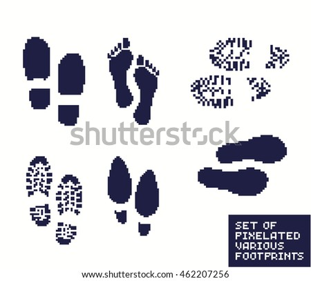 Set of pixel footprints, shoes and boot, pixelated illustration. - Stock vector