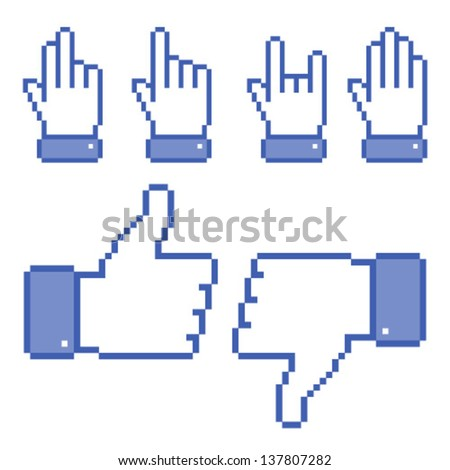 Set of Pixel Hand icons, vector illustration - stock vector