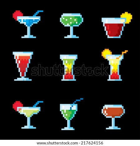 Set of pixel icons. Cocktails and drinks. - stock vector