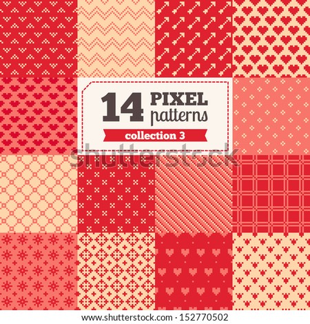 Set of pixel patterns - Valentine's Day All patterns were added in Swatches palette - stock vector