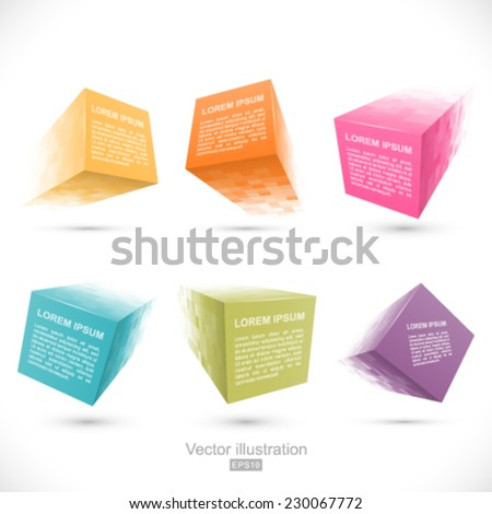 Set of pixelated cube banners. - stock vector