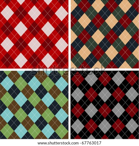 Set of plaid patterns, cottons - stock vector