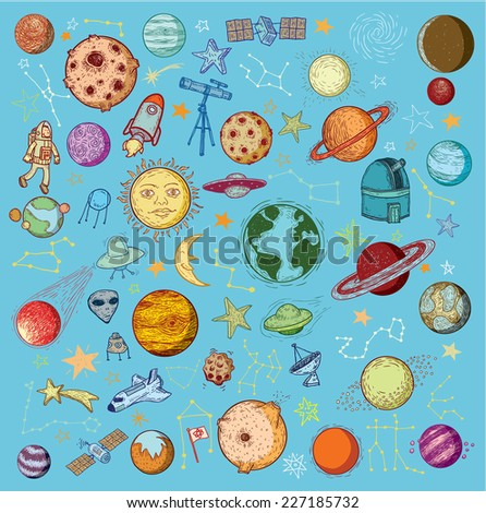 Set of planets icon, hand drawn vector illustration. - stock vector
