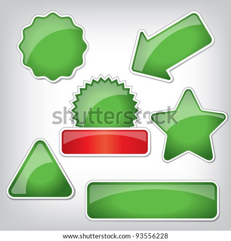 Set of plastic stickers with different shapes and glossy surface. Good for web icons, discount markers, price tags. - stock vector