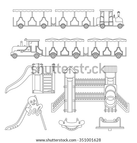Set play equipment children childrens train stock vector for Swing set coloring page