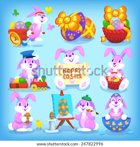 Set of playful easter rabbits with seamless pattern as backgroung - stock vector