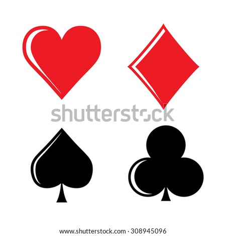Set of playing card suits isolated on white background - stock vector