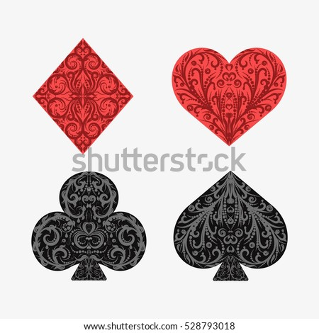 Set Playing Card Suits Isolated On Stock Vector 528793018 ...