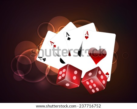 Set of playing cards ace and red dices on stylish colorful background. - stock vector