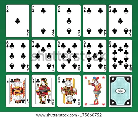 Set of playing cards of Clubs on green background. The figures are original design as well as the jolly, the ace of spades and the back card.  - stock vector