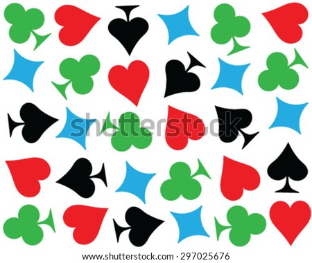 Set of playing cards symbol, vector, isolated, background, pattern