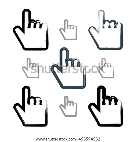 Set of point hand gestures created with real hand-drawn ink brush, scanned and vectorized. Collection of monochrome brush drawing touch screen simple vector icons.