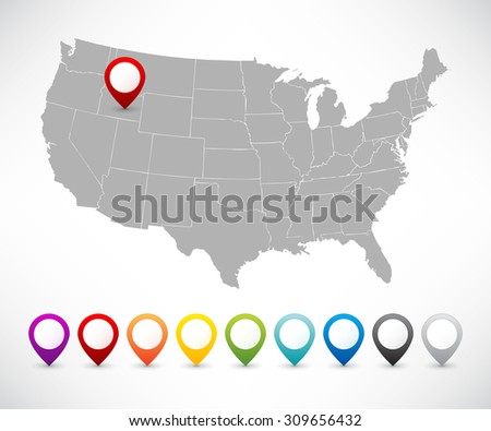 Set of pointers with map of the USA - stock vector