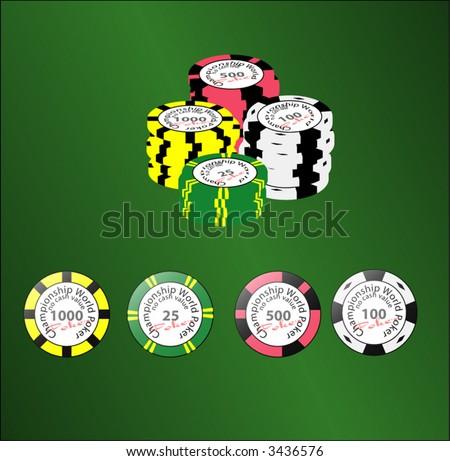 Set of poker chips, vector art, editable units - stock vector