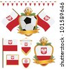 set of poland football supporter flags and emblems, isolated on white - stock vector