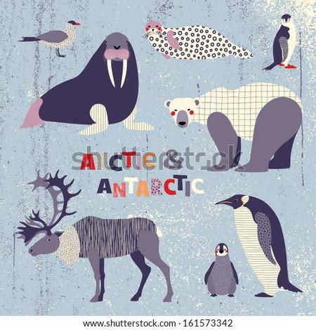 Set of polar animals - stock vector