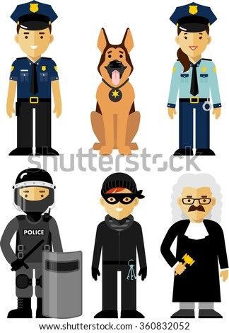 Set of police and law officer in uniform. Policeman, policewoman, judge, Special Forces soldier, criminal and police dog standing on white background in flat style - stock vector