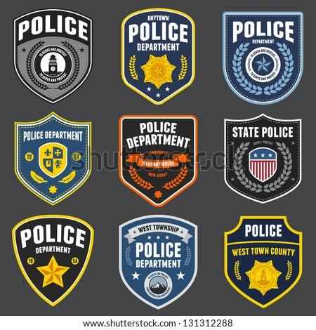 set police law enforcement badges logo stock vector 131312288 rh shutterstock com police logistics police logo creator