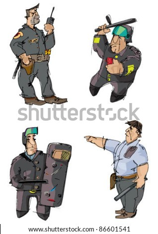 set of policeman - cartoon