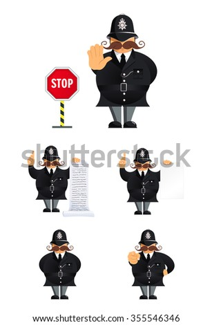 Set of policeman characters in different poses - stock vector