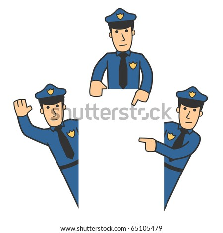 set of policeman in different poses on white background - stock vector