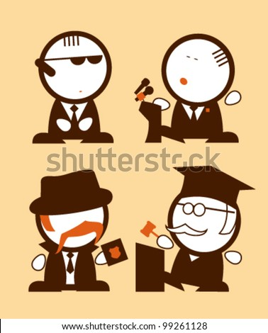 Set of politics and law profession funny peoples icons.