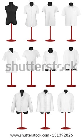 Set of polo shirts, t-shits, blouse and jackets on mannequin torso template. - stock vector