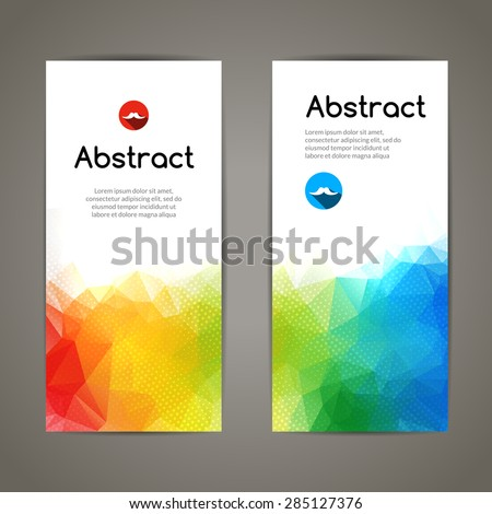 Set of polygonal and triangular geometric colorful banners for modern designs - stock vector