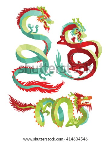 Set of Polygonal Chinese Dragons. Legendary Chinese Dragons on a White Background. Vector Chinese Dragons for Your Design - stock vector