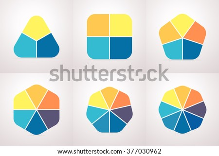 Set of polygonal elements for infographics. Business chart, graph, diagram with 3, 4, 5, 6, 7, 8 steps, options, parts, processes. Triangle, square, pentagon, hexagon, heptagon, octagon. - stock vector