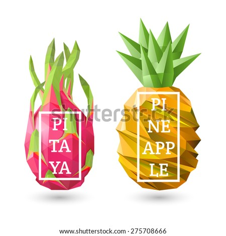 Set of polygonal fruit - pitaya and pineapple with design inscription. Vector illustration - stock vector
