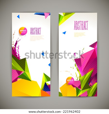 Set of polygonal geometric banners for modern design  - stock vector