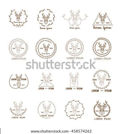 Set of polygonal hipster logo with silhouette of polygonal deer and twigs around. Hand drawn brush. Vector illustration. Reindeer logotype for hunting club or touristic camp. - stock vector