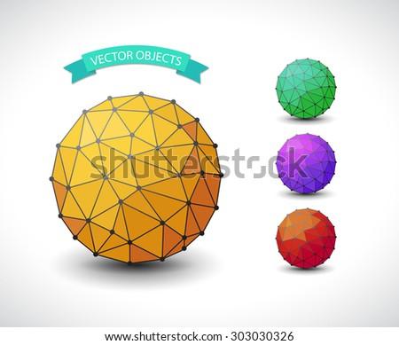 Set of polygonal illustration of a molecular sphere - stock vector