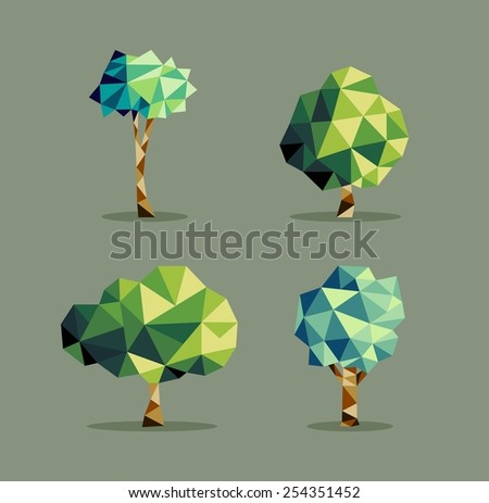 Set of polygonal origami polygonal tree icon illustration. Ideal for web icon, ecology brochure and botany book cover. EPS10 vector file. - stock vector